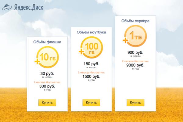 Яндекс.Диск тарифы