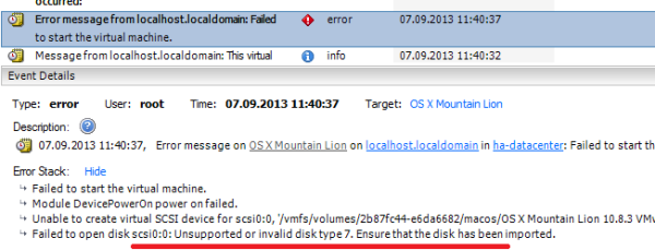 Unsupported or invalid disk type 7