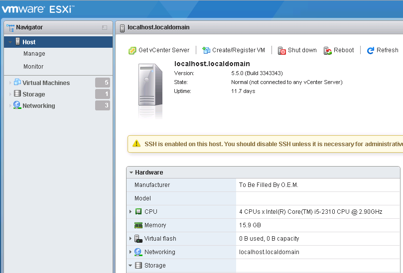 VMware ESXi Embedded Host Client v5